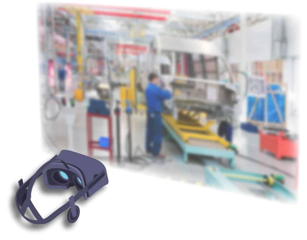 Virtual Reality Assembly Line Graphic